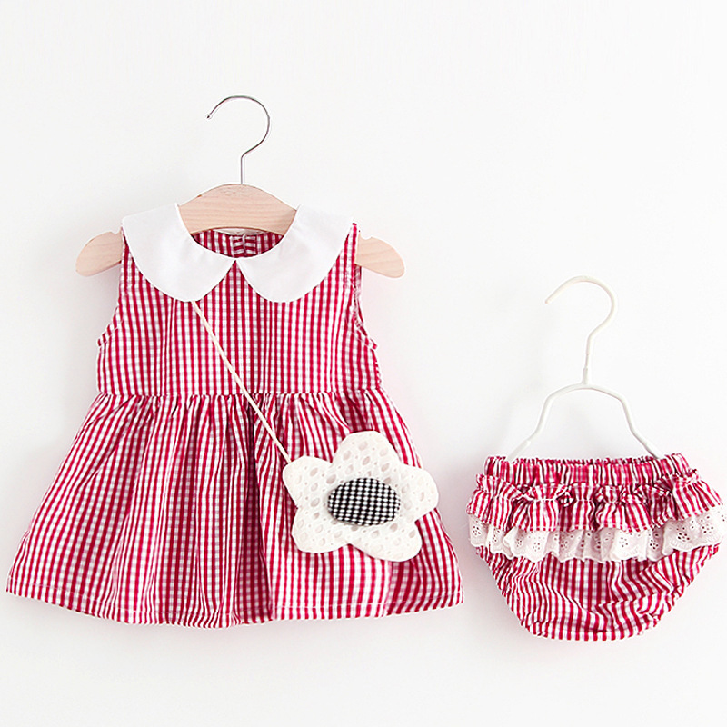 New Newborn Baby Girls Clothes Sleeveless Dress Briefs PCS Outfits Set Striped Printed Cute Clothing Sets