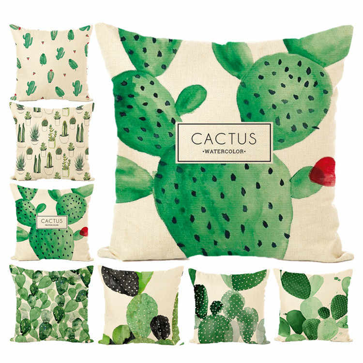 Tropical Plants cactus Cushion Covers Bird Flamingo  Flowers Cushion Cover Beige Linen Pillow Case K21