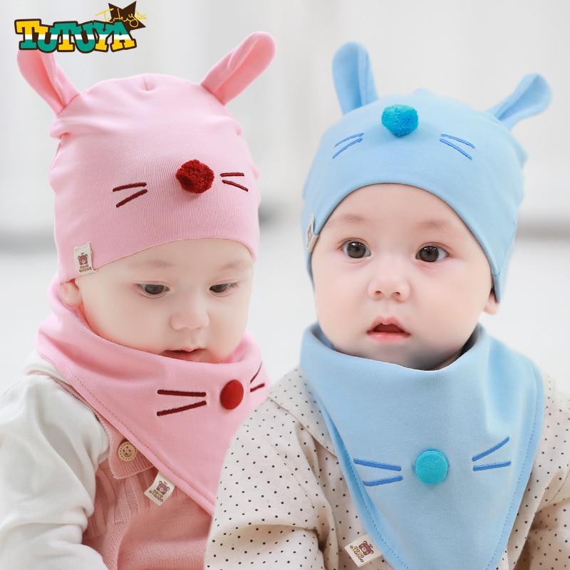 2018 Spring Cartoon Bunny Infant Baby Beanie Bib Set Soft Cotton Newborn Boys Girls Cute Hat Bib Set