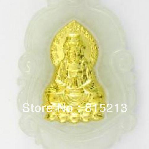 LIVRAISON GRATUITE >>>@@> N589 Naturel Jade Agate 24 k Or Zodiaque Guanyin Collier