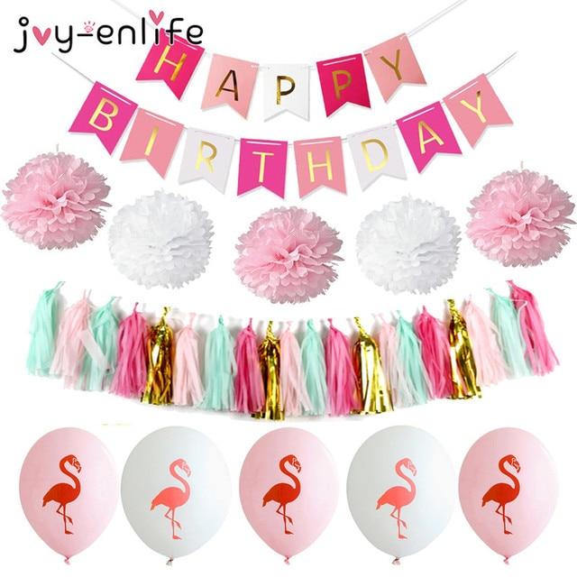 Joy Enlife 1 Set Joyeux Anniversaire Banniere Pompon Papier Glands