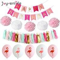 JOY-ENLIFE 1 takım Mutlu Doğum Afiş Ponpon Kağıt Püsküller Flamingo Balon Dekor Duş Bebek Çelenk Mükemmel Parti Malzemeleri