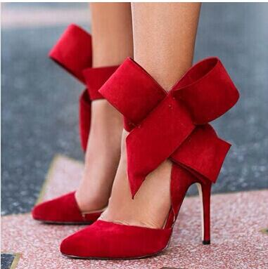 Plus Size 13 Big Bowtie Suede Leather Pointy High Heel Sandals Women 12cm Heeled Gladiator Pointed toe Sandal shoes woman Drop S 2016 package with high heeled sandals women s shoes formal platform thick heel open toe shoe 40 43 plus size women s small yards