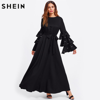 SHEIN Pearl Beading Flare Sleeve Belted Hijab Dress Autumn 2017 Ladies Long Sleeve Maxi Dress Black