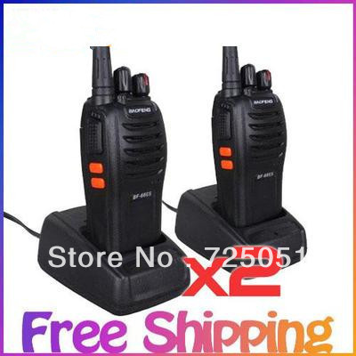 2 sets Portable Walkie Talkie baofeng BF-666s Handheld Two Way Radio Transceiver Free Shipping