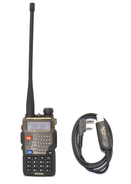 New Black BAOFENG UV-5RE+PLUS VHF/UHF Dual Band Radio + Program cable+CD+free earpiece+free shipping Telecom Parts