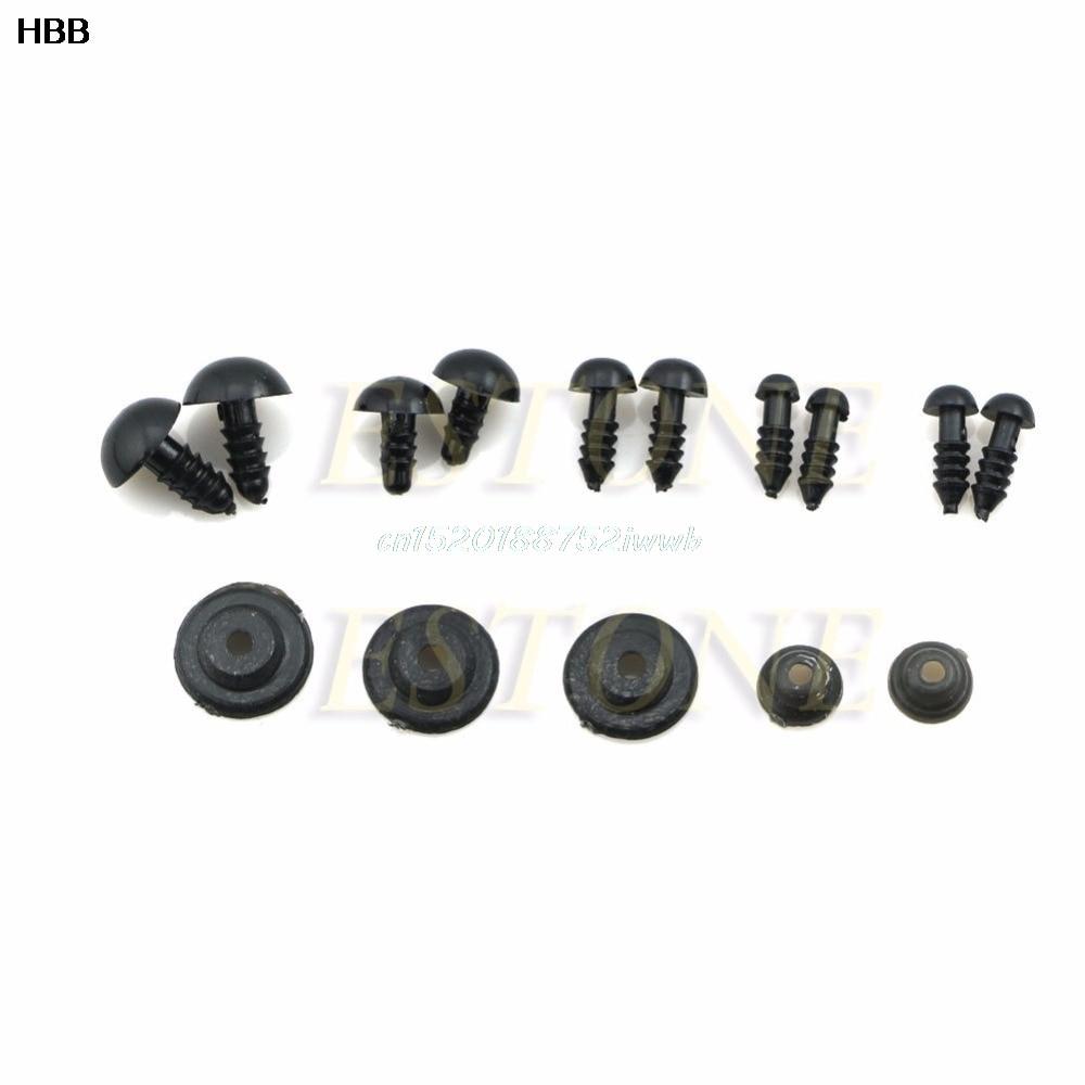 100x 6-12mm ojos de seguridad de plástico negro para peluche oso - Muñecas y accesorios - foto 2