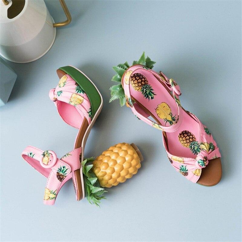 Imprimer plate forme sandales femmes talons hauts talon étrange chaussures d'été pour femmes confortables dames sandales chaussures élégantes-in Sandales femme from Chaussures    3