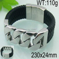 popular gifts Men's Stainless Steel Genuine Leather Bracelet Link Silver Shiny 24mm wide 9.4''