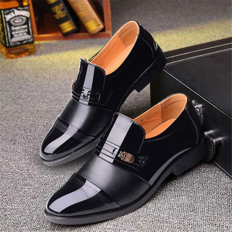 new italian black formal shoes men