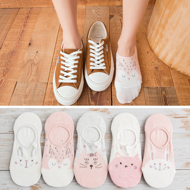 5Pairs/Lot Summer Korea Cartoon Cat Fox mouse Cute Animal Funny Ankle Socks 5