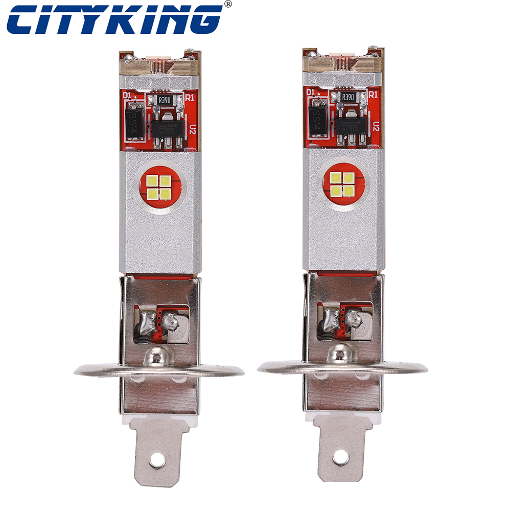 2pcs Car H1 <font><b>led</b></font> <font><b>H3</b></font> <font><b>led</b></font> <font><b>canbus</b></font> 12 <font><b>LED</b></font> CSP chip super White Tail light Headlamp Fog Light auto Motorcycle Lamp 10-30v image