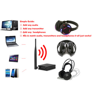 Image 5 - Professional 500m distance Silent Disco 3 LED Headphones with 1  transmitter  RF Wireless For iPod MP3 DJ music pary club meet