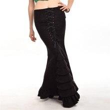 b06908e1c4c Femmes sirène jupe Vintage victorien Slim Maxi longues à lacets volants  queue de poisson Style Corset