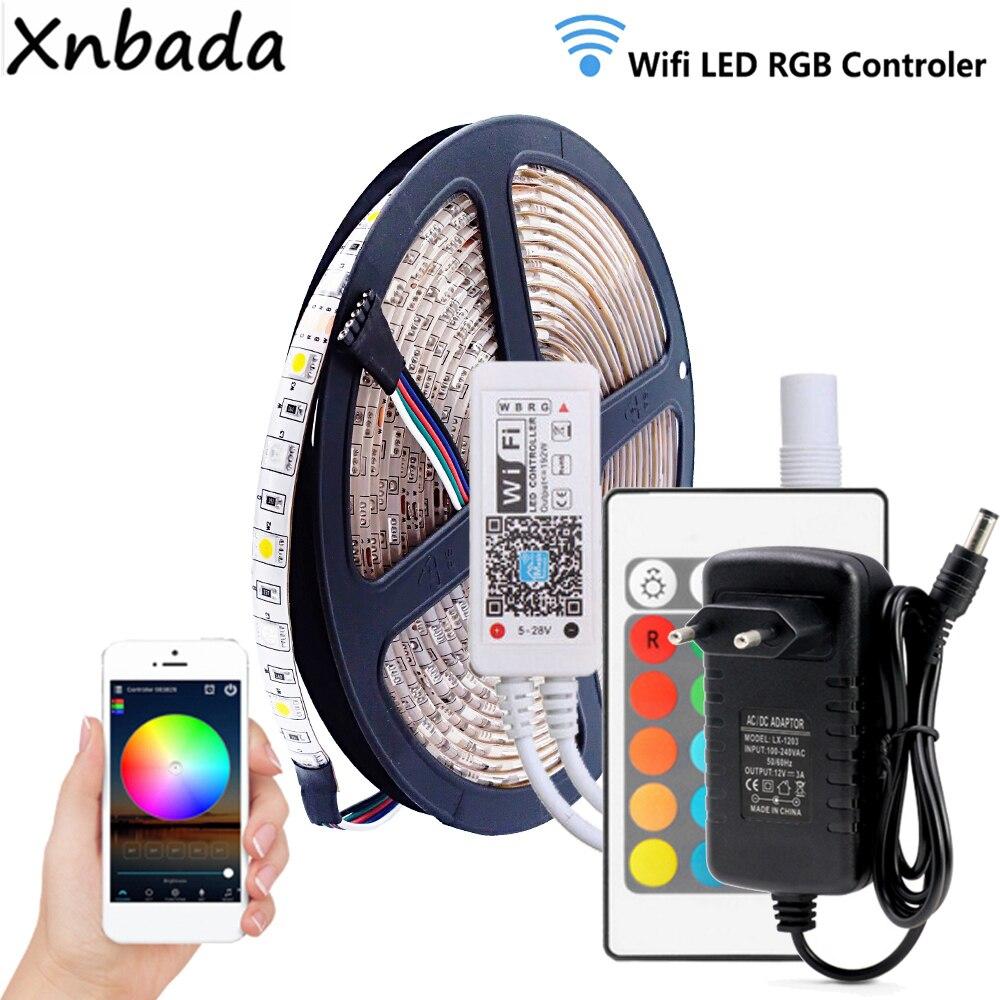Tira de Led rgbww 5050SMD 60 Leds/m luz Flexible wifi en casa RGBW Controlador Led DC12V 3A fuente de alimentación Led