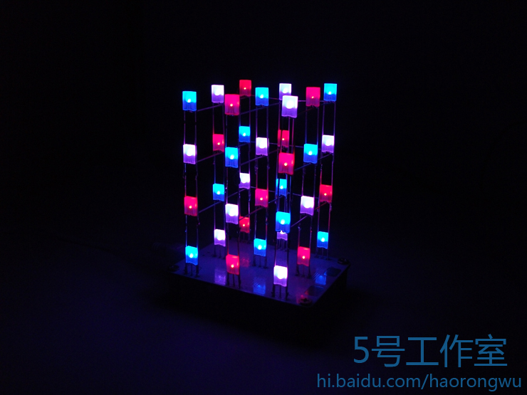 Creative 51 single chip DIY electronic design and production kit: touch Cube3*3*4 color LED Light Cube make it by yourself DIY the development of 51 single chip learning board 4 4 4 color led lightdiy electronic parts cotted production suite