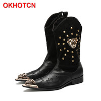 Leather Casual Carved Mens Cowboy Boots High Warm British Knight Boots Slip On Rivets Korean Point Iron Toe Mens Knee High Boots