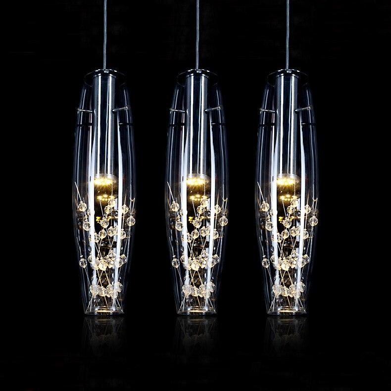 Cristal européen pendentif LED lumières moderne créatif salle à manger suspension lampe pour chambre Bar café Restaurant AC 110-220 V