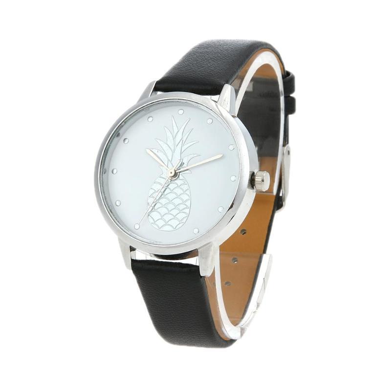 Fashion Couple Watches Woman Fruit Pattern Casual Leather Watch Men Quartz Clock Erkek Kol Saati