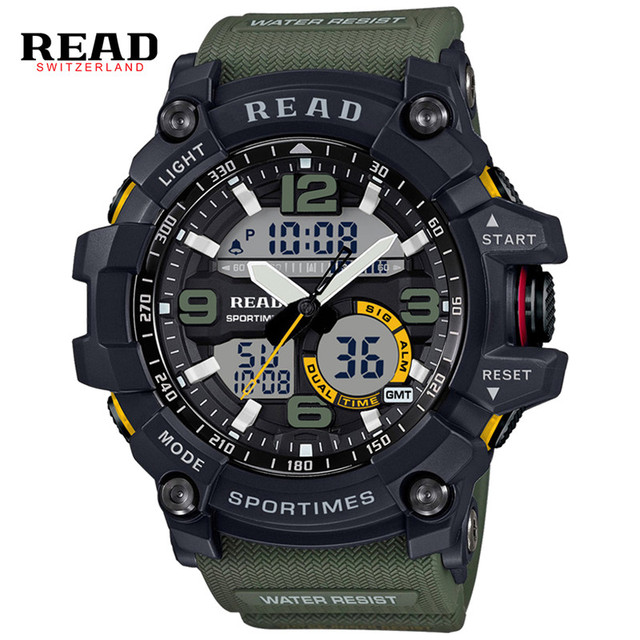READ Brand Men Sport Military Quartz Watches Men Round Dial Large Digital Scale LED Analog Wrist Watch Relogio militan 90001