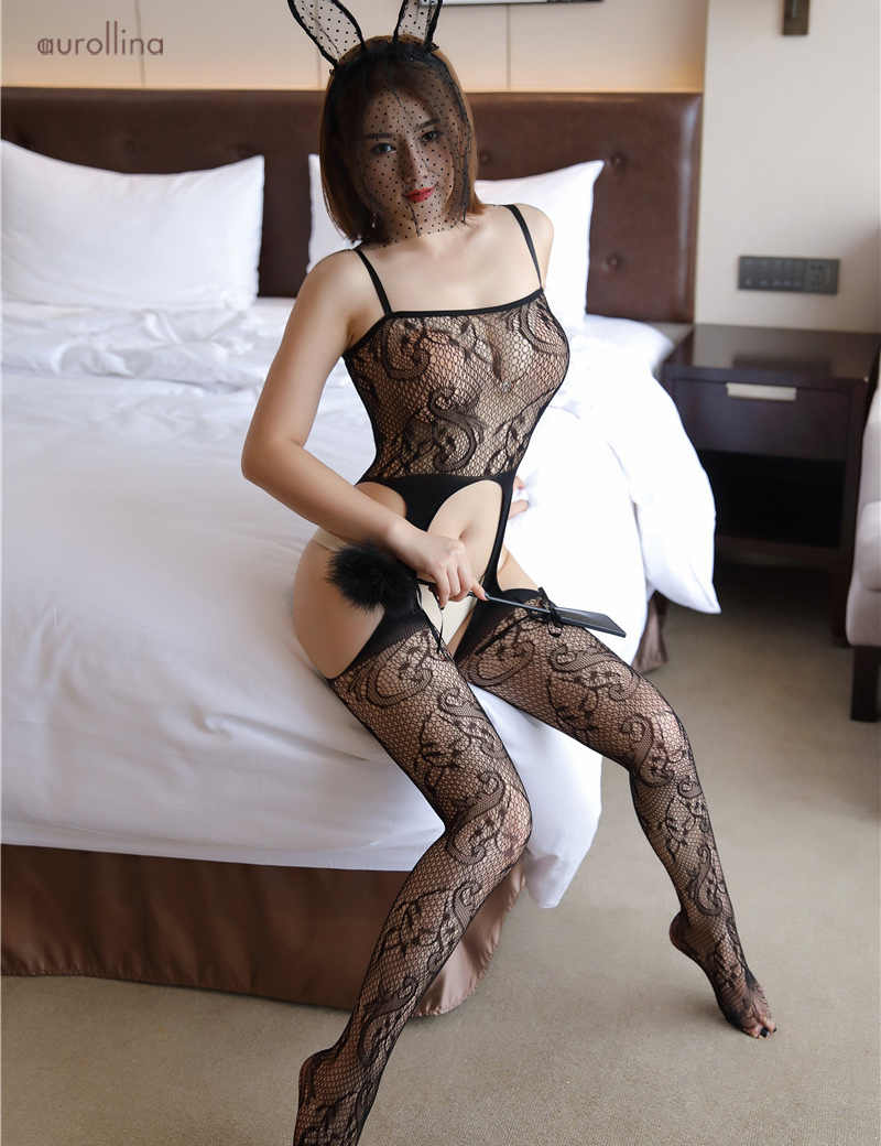 9523966aaba ... Erotic Lingerie Women Sexy Mesh Fishnet Bodysuit Strapless Open Crotch  Bodystocking Babydolls Chemises Crotchless Sexy Underwear ...