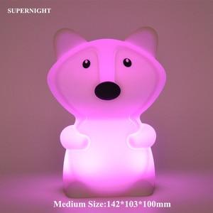 Image 3 - Bär Hund Fuchs Affe LED Nachtlicht Touch Sensor 9 Farben Cartoon Silikon Tier Lampe Nacht Lampe für Kinder Kinder baby Geschenk