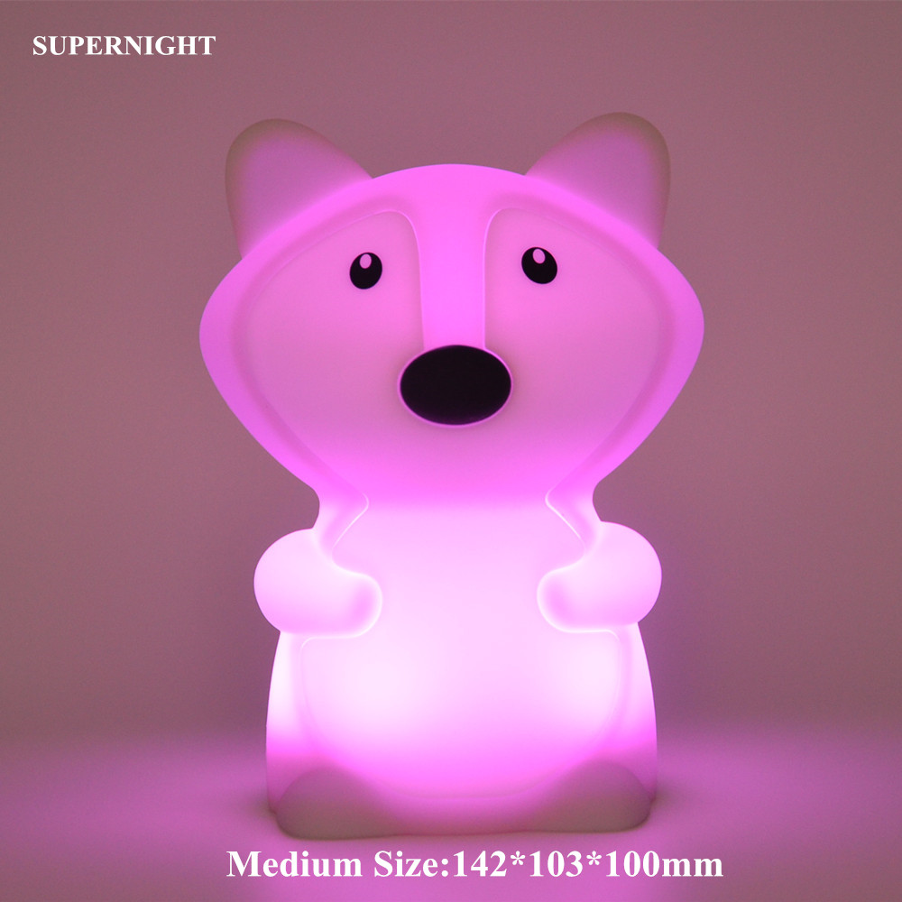 Image 3 - Bear Dog Fox Monkey LED Night Light Touch Sensor 9 Colors Cartoon Silicone Animal Lamp Slepping Lamp for Children Kids Baby Gift-in LED Night Lights from Lights & Lighting