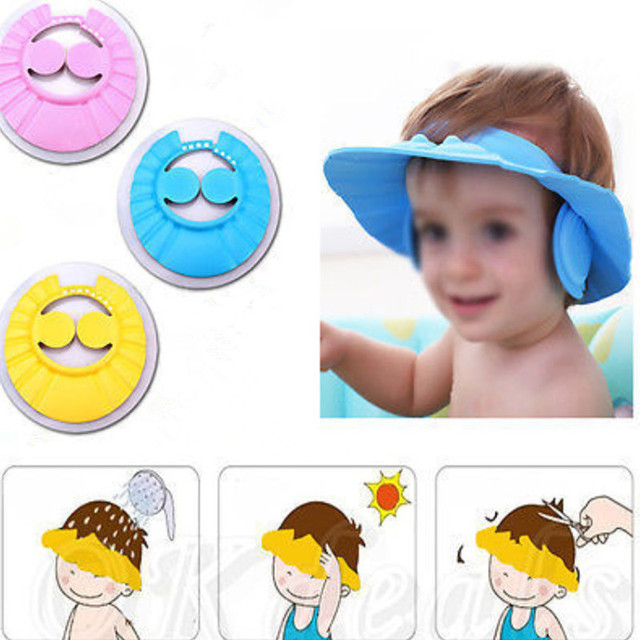 7db2613a256 Wholesale Adjustable Baby Kids Shampoo Cap Bath Bathing Shower Cap Hat Wash  Hair Shield with Ear Baby Safety Protecting Ears