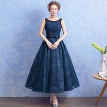 Perlen Scoop Neck Lace Abendkleid Marineblau 2017 Bodenlangen Abendkleider Lace Up Party Kleid Elegante