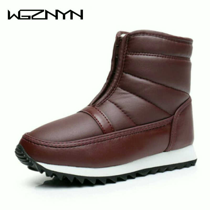 WGZNYN Fur Padded Women Boots 2020 Cold Weather Waterproof Warm Ankle Snow Boots Front Zip Anti-slip Casual Shoes Woman 35-42 W5