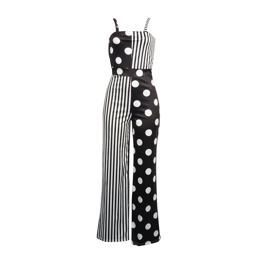 82806fa036f Women Sexy Slim Jumpsuit Summer Spaghetti Strap Polka Dots Stripe Print  Patchwork Thin Wide Legs Casual Long Romper Jumpsuits-in Jumpsuits from  Women s ...