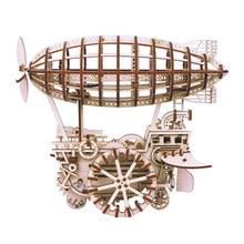 Robud Assembly Подвижной дирижабль с заводной пружиной Деревянные модели Наборы для строительства Игрушки Хобби Головоломки Подарок для детей H71
