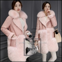 Women Winter Jacket 2017 Fashion Slim Fox Fur Collar Coat Korean Medium-long Warm Fur Coat Large size Casual Women Jacket AB371