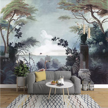 European hand-painted retro garden rainforest mural TV background wall custom wallpaper