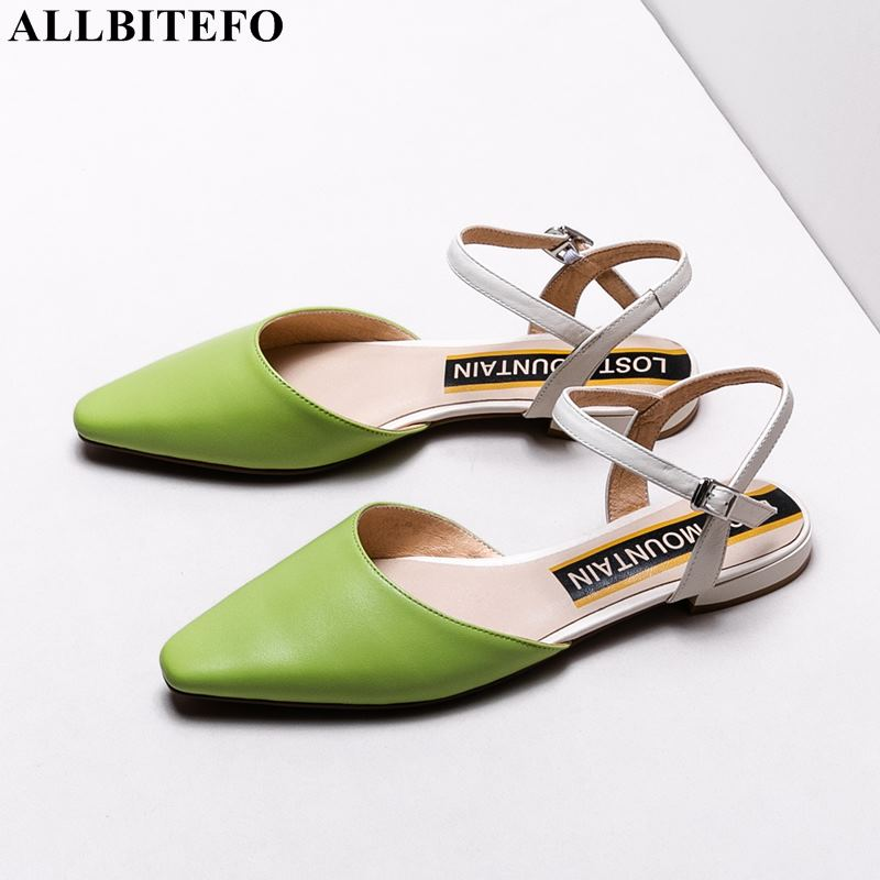 ALLBITEFO size 33 42 genuine leather square toe low heeled office ladies shoes high quality party