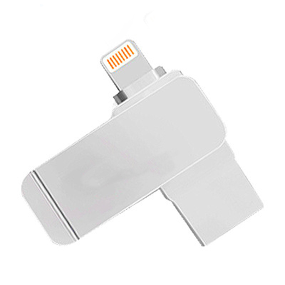 3 2 1 2 in 1 USB 3.0 Flash Drive Phone Computer U-Disk Portable 128G Memory Stick Flash Disk Compatible for iPhone iPad PC - Silver (1)