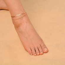 Double-layers Copper Sequin Chain and Iron Fine Chain Anklets Women Girls Classic Ankle Jewelry Summer Days Barefoot Jewelry