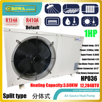 1P air source split type heat pump water heater is good choice for 50sqm floor heating, easy installation and maintain
