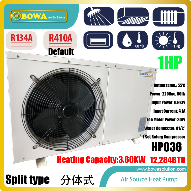 1P air source split type heat pump water heater is good choice for 50sqm floor heating, easy installation and maintain 11kw heating capacity r410a to water and 4 5mpa working pressure plate heat exchanger is used in r410a heat pump air conditioner