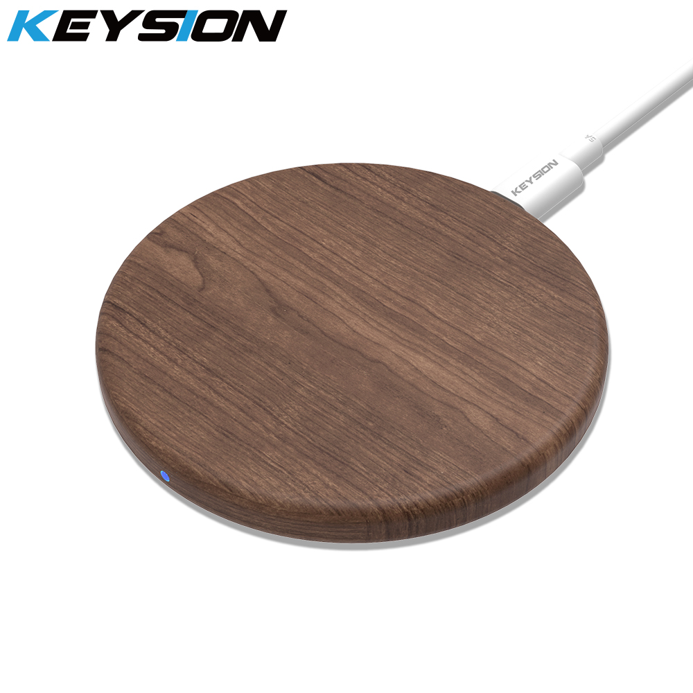 KEYSION Wireless-Charger Charging-Pad Wooden Xiaomi IPhone Xs Samsung S10 For Max-Xr