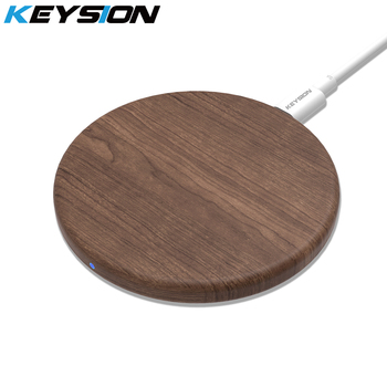 KEYSION  Wooden 10W Qi Fast Wireless Charger for iPhone 11 XS Max XR 8 Plus Wireless Charging Pad for Samsung S10 S9 Xiaomi mi 9 1