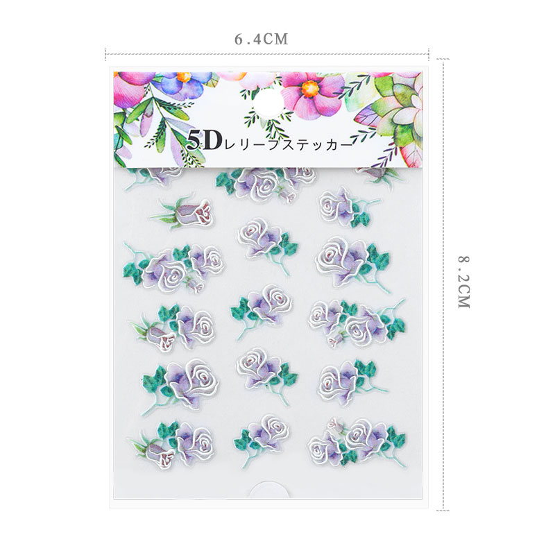 1pcs 5D Flower series Nail Art Transfer Holographic Designs Nail Stickers Decal Decoration Manicure in Stickers Decals from Beauty Health