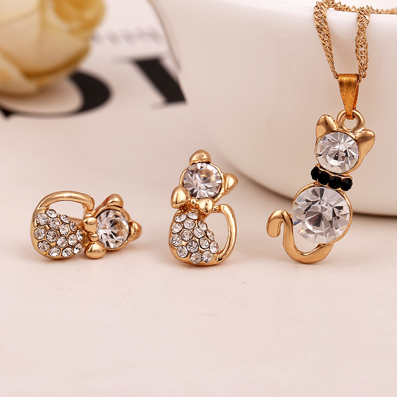 Free Shipping Retail Romantic Engagement Gold color Cute Cat Jewelry