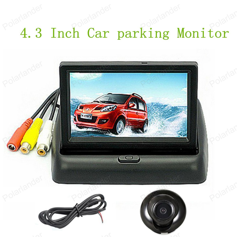 new! LCD display TFT Car Reverse Monitor 12V 4.3 Inch Backup 2 Video Input with HD 360 CCD Car Parking Camera