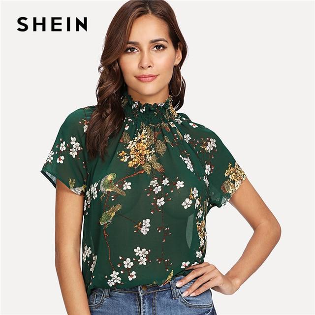 e192298c08e2c8 SHEIN Green Elegant High Neck Raglan Short Sleeve Floral Print Sheer  Regular Fit Blouse Summer Women
