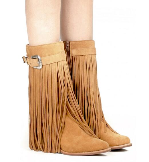 203a49f72b9 Matte leather vintage rubbing long tassel boots buckle long tassel ankle  boots brown black leather in