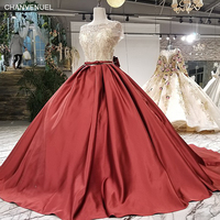 LS12774 blue grey red three colors scalloped neck short sleeves bow back wholesale drop shipping evening dress