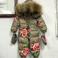 2016 Winter baby down coat Baby clothes print outerwear Fur Hooded children's Snowsuit down coats Newborn Child jumpsuit romper