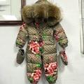 2016 Winter baby down coat Baby clothes print outerwear Fur Hooded children's Snowsuit down coats Newborn Child jumpsuit romper