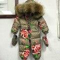 2016 bebê para baixo casaco de Inverno roupas de impressão Do Bebê Snowsuit para baixo casacos outerwear Com Capuz De Pele das crianças Recém-nascidos Criança jumpsuit romper